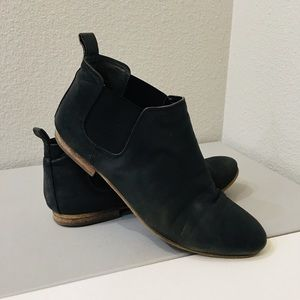 Black Leather Flat Booties by Franco Sarto, Sz 7.5